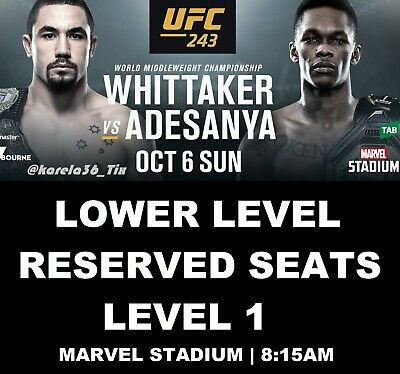 Ufc 243 | Melbourne | Lower Level Reserved Seats Tickets | Sun 06 Oct 2019