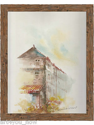 Building  Cityscape Watercolor Art Paper 11x14 Signed DICKINSON Free Shipping