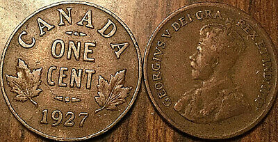 1927 Canada Small 1 Cent Coin Penny Vg To F Buy 1 Or More Its Free Shipping!