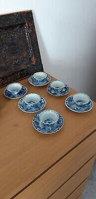 antique 18th century chinese  blue and white porcelain tea cups and saucers