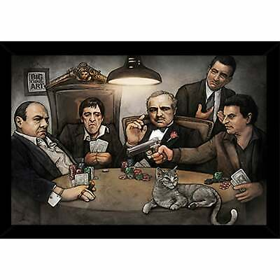 Gangsters Playing Poker Poster With Choice of Frame (24x34)  Large