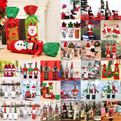 Red Wine Bottle Cover Bags Snowman Santa Claus Christmas Decor Merry Christmas