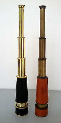 """Spyglass Lot of 2 Pieces Nautical Vintage Brass Finish Antique Leather Scope 18"""""""