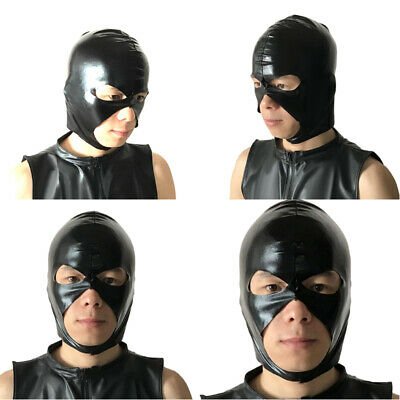 Men's Black Mask Spandex Full Head Hood Cosplay Costume Wet Look Faux Leather