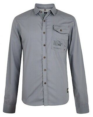 Smith & Jones Men's New Long Sleeve Slim Fit Shirts Plain Casual Small S Grey