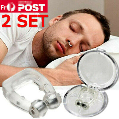 2Pack Nose Clip Stop Snoring Anti Snore Sleep Magnetic Silicone Sleep Aid Care