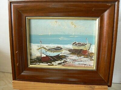 Vintage Small Seascape Oil Painting On Board Nicely Textured Signed