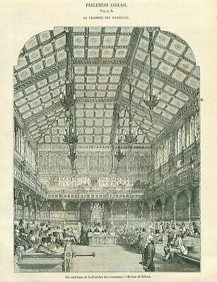 House of Commons United Kingdom Parliament London GRAVURE ANTIQUE OLD PRINT 1853