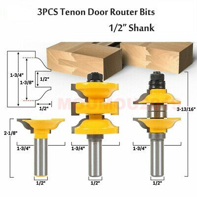 "3pcs/set 1/2"" Shank Entry&Interior Door Ogee Matched R&S Router Bit Milling Wood"