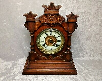 Large Antique wood Mantel Clock by Ansonia New York-patent 1882-needs some work