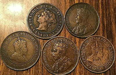 1888 1907 1907? 1915 1917 Canada Large Cent Penny Lot Of 5 Coins