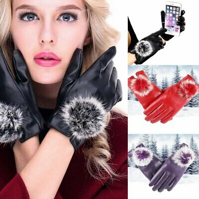 Womens Ladies Leather Gloves Fleece Lined Driving Soft Genuine Unique Winter UK