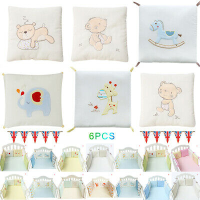 6Pcs Baby Bedding Crib Bumper Infant Bed Cot Safety Protector Cushion Nursery