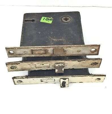 Lot of 3 Vintage/Antique Steel Full Mortise DOOR LATCHES with LOCKS f/s