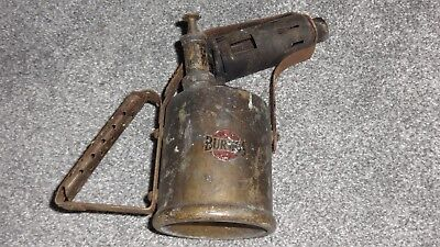 Genuine Vintage British Burmos Logo Paraffin Brass Blow Torch Lamp - Rare!