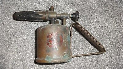 Vintage British Monitor Paraffin Brass Blow Torch Lamp With Embossed Handle!