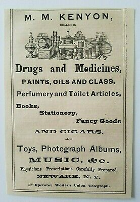 1867 New York Newark MM Kenyon Medicine Drugs Quack Book Cigars Advertisement Ad