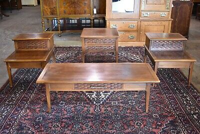 Vintage 4 Piece Table Set Coffee Table End Side Tables Mid Century