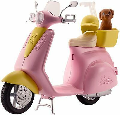 Barbie Pink Scooter Motorbike Moped For Doll Helmet Puppy Yellow Basket KIDS TOY