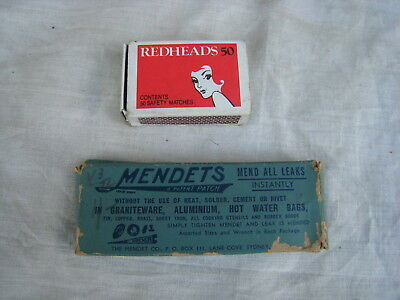 Old Vintage Small Advertising Cardboard Box With Contents Mendets 1950s