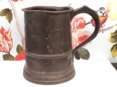 A Large Victorian Pewter Tankard, Quart Size, marked Prince of Wales ( Inn ).