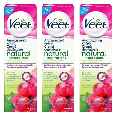 3 X Veet Cream 100ml Natural Inspirations Hair Removal with Grapeseed Oil