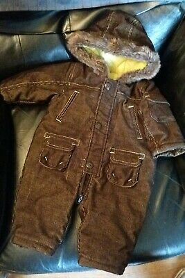 Mothercare Boys Thick Padded Brown Cord Style Snow Suit Boots & Mitts 3-6 Months