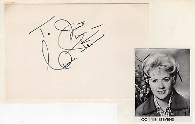 Connie Stevens Signed Autographed Index Card - from the Melchior Collection