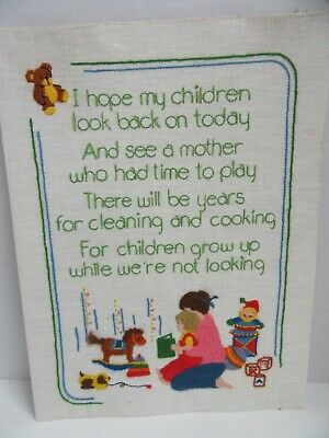 Finished Crewel Embroidery Mother & Children Grow Up Poem Dimensions Complete