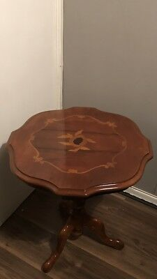 Vintage octagonal italian marquetry inlaid side table ,Occasional, Wine Table