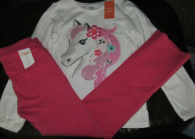 Gymboree Wild For Horses horse pony top & pink coral ponte pants NWT 8 HTF