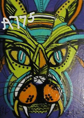 "A775     Original Acrylic Miniature Aceo Painting By Ljh  ""Folk Art''  Cat"