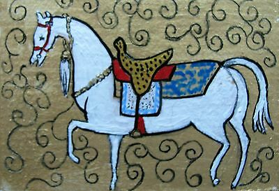 "A428        Original Acrylic Aceo Painting By Ljh        ""Parade Horse"""