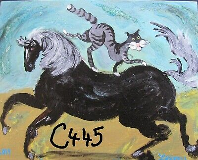 "C445   Original Acrylic Painting By Ljh  ""Prancing Horse & Cat"""