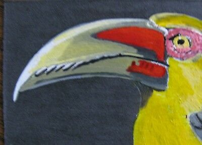 "A642     Original Acrylic Aceo Painting By Ljh       ""Saffron Toucan''    Bird"