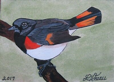 "A583     Original Acrylic Aceo Painting By Ljh  ""American Redstart""  Bird"