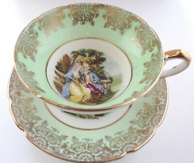 STANLEY Vintage TEA CUP & SAUCER Courting Couple 18th Century Artwork VERY RARE