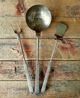 Antique SPATULA LADLE FORK 18thc. FORGED IRON Cooking Set w/ Incised Decoration