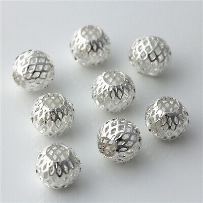 10pcs silver plated Hollow Beads Big hole Charms Bracelet necklace Findings 11mm