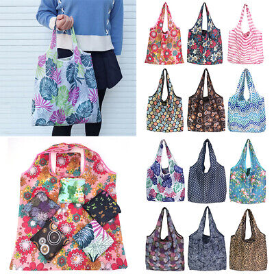 Square Women Shopping Bag Printed Foldable Handbag Pouch Reusable Eco Shoulder