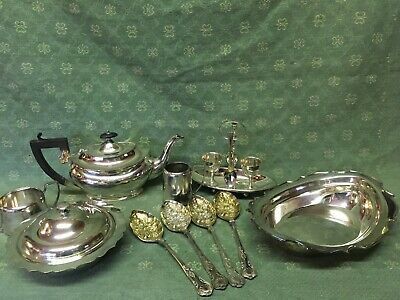 Antique job lot silver plate tea pot muffin dish a1 spoons pots & bowl, lovely