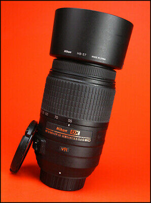 Nikon AF-S 55-300mm F4.5-5.6 VR DX G ED AF Zoom Lens With Both Caps, & Hood,