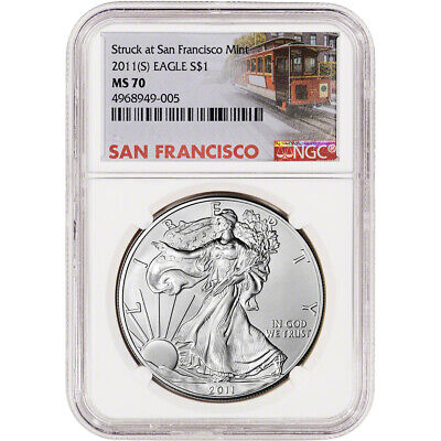 2011-(S) American Silver Eagle - NGC MS70 - San Francisco Trolley Label