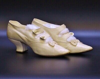 A Lovely Pair Of Antique Victorian Leather Wedding Bridal Ivory Shoes