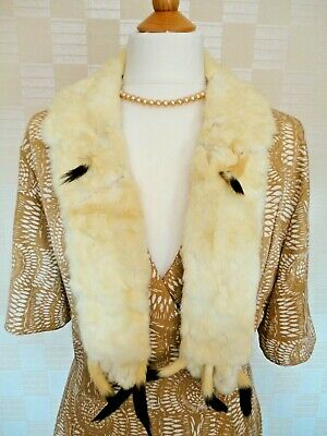 Vintage 1930s/1940s Lady's Real Ermine Fur Scarf/Collar. Silk Lining.