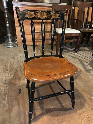 Vintage Antique Hitchcock Black Stenciled Wood Dining Side Chair