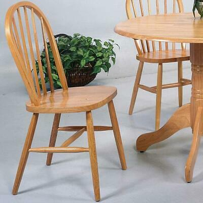 Set of 4 Spindle Back Windsor Soild Wooden Seat Light Oak Dining Side Chairs