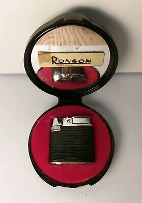 Accendino Gas Ronson-Scatola/Box-Lighter-Mechero-Briquet-Feuerzeug-Old Vintage