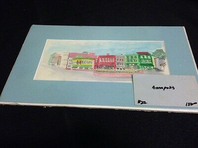 Annapolis Maryland Original Watercolor Signed Matted Downtown