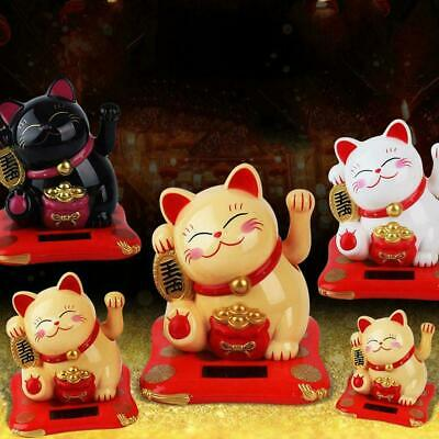 "Bigger Solar Powered Lucky Beckoning Fortune Cat 6""1/24 Welcoming E6N8"